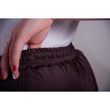 Утепленные женские брюки на поясе-резинке, цвет - шоколад