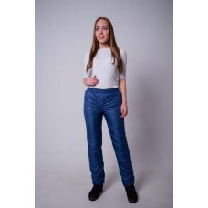 Зауженные женские брюки с манжетой, цвет- синий