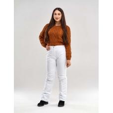 Утепленные женские брюки на поясе с завышенной талией, цвет - белый