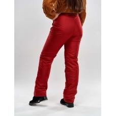 Утепленные женские брюки на поясе с завышенной талией, цвет - красный
