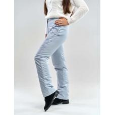 Утепленные женские брюки на поясе с завышенной талией, цвет - светло-серый