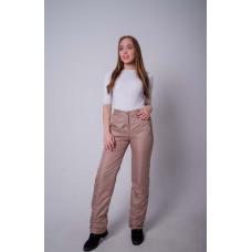 Утепленные женские брюки на поясе с завышенной талией, цвет - капучино