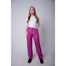 Утепленные женские брюки на поясе с завышенной талией, цвет - брусничный