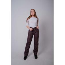Утепленные женские брюки на поясе с завышенной талией, цвет - шоколад