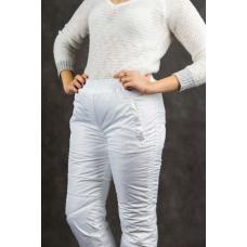 Утепленные женские брюки на манжете по щиколотке, цвет- белый