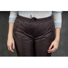 Утепленные женские брюки на манжете по щиколотке, цвет- шоколад