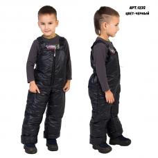 Детский утепленный полукомбинезон из мягкой курточной глянцевой ткани, цвет -черный