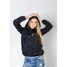 Женская  ветровка  с капюшоном,цвет- черный