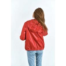 Женская  ветровка  с капюшоном,цвет- красный