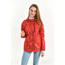 Женская ветровка с отлетной кокеткой, цвет-красный
