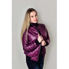 Утепленный  женский бомбер, цвет- фиолетовый