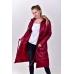 Удлиненное демисезонное  пальто с  накладными карманами. цвет - бордовый