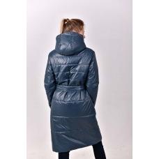 Удлиненное демисезонное  пальто с  накладными карманами. цвет - серый